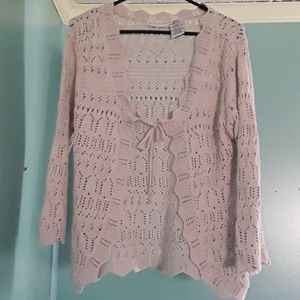 Cardigan Sweater - Open - Cream